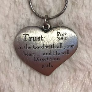 """Trust"" Proverbs Heart Christian Necklace"
